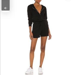 Zip Front Romper in Black lovers and friends